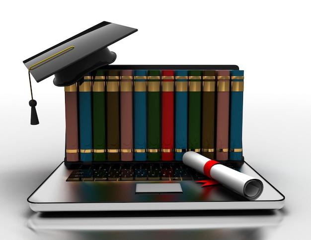 Boeken en afstuderen glb op laptop e-learning 3d concept. 3d illustratie