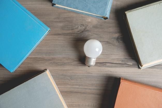 Boeken en een gloeilamp op tafel