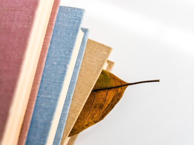 Boeken of leerboeken met droge herfstbladeren op een witte tafel, bovenaanzicht.