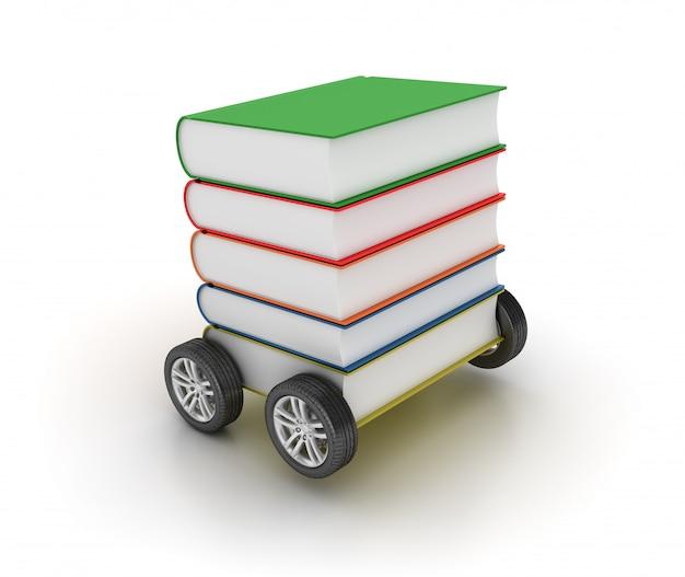 Boeken stapel op wielen