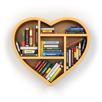 Boekenplank met boeken en studieboeken in de vorm van een hart
