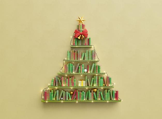 Boekenplanken met boeken in de vorm van een kerstboom