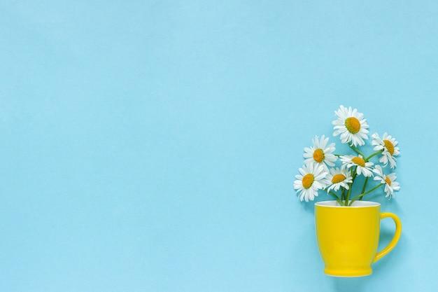 Boeket kamille madeliefjes bloemen in gele mok op pastel blauwe achtergrond