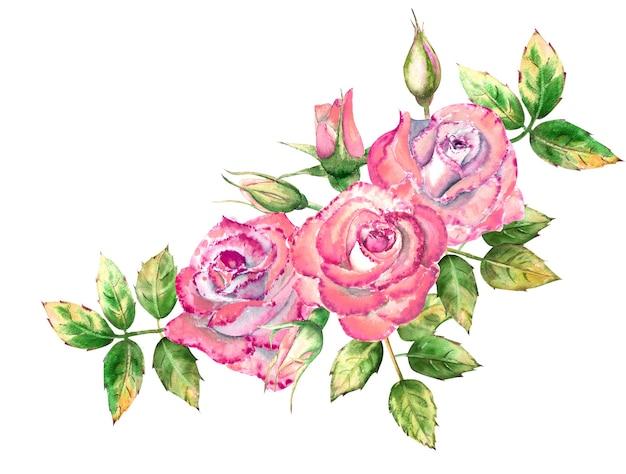 Boeket met 3 roze roze bloemen, groen blad, open en gesloten bloemen