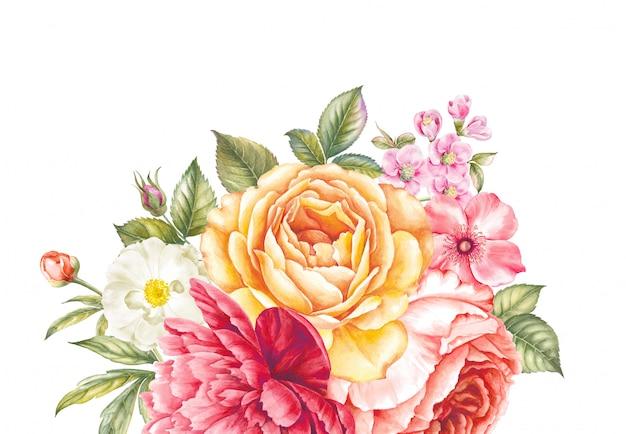 Boeket rozen en kersenbloemen.