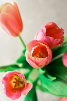 Boeket tulpen op grijs