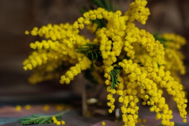 Boeket van bloeiende pluizige mimosa op tafel.