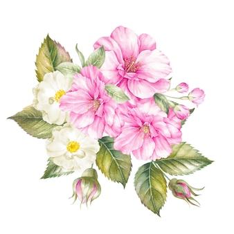 Boeket van geïsoleerde lentebloemen