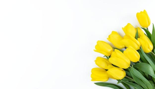 Boeket van gele tulpen op een witte achtergrond met kopie ruimte.