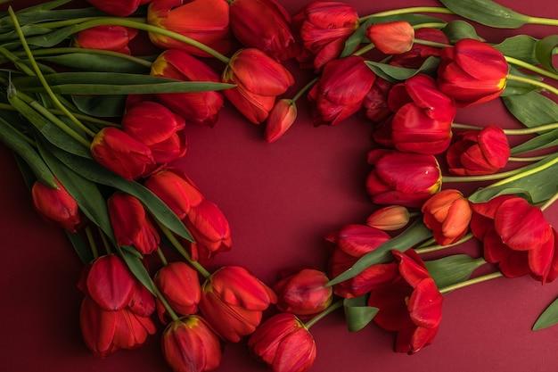 Boeket van mooie rode tulpen op rood papier oppervlak