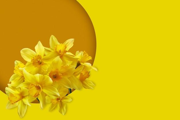 Boeket van narcissen op gele achtergrond. lente bloemen met lege plek aan de rechterkant.
