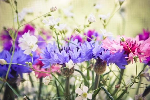 Boeket van paars roze en witte wilde bloemen