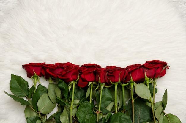 Boeket van rode rozen op witte bontachtergrond