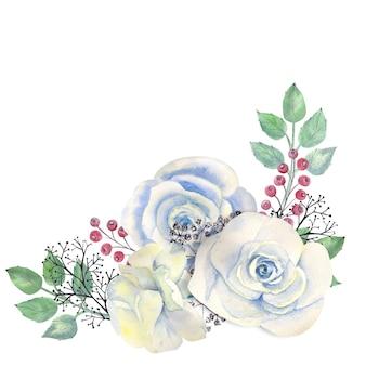 Boeket van roze rozen, groene bladeren, rode bessen, decoratieve twijgen
