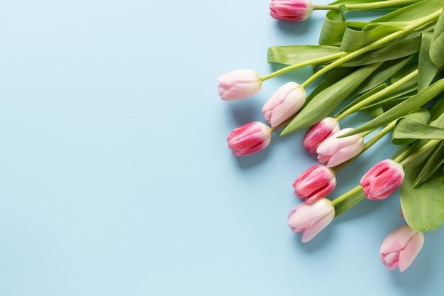 Boeket van roze tulpen op een blauwe achtergrond.