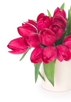Boeket van roze tulpen op een lichte achtergrond. kerstkaart.