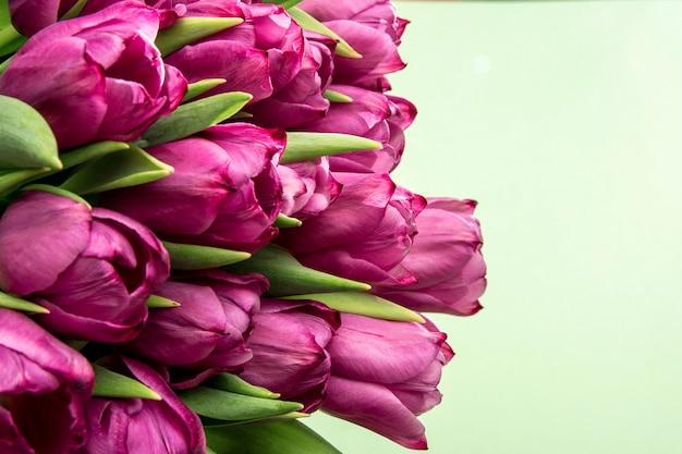 Boeket van roze tulpen / pasen-dagachtergrond. boeket van tulpen op een groene achtergrond, webbanner