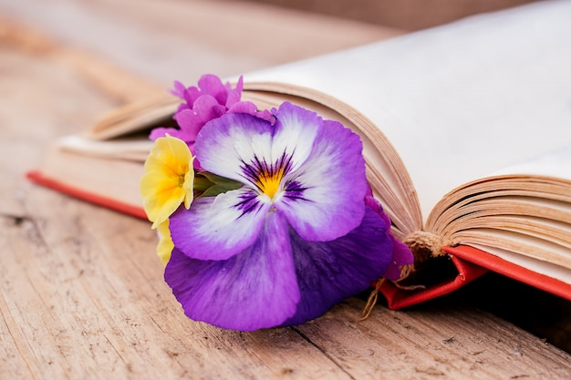 Boeket van sleutelbloemen en viooltjes in een open oud boek dicht omhoog.