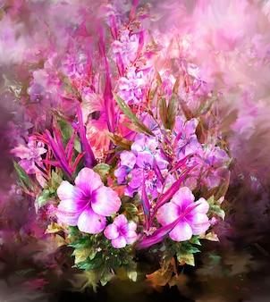 Boeket van veelkleurige bloemen aquarel schilderij stijl