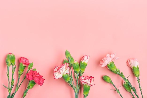 Boeket van verschillende roze anjer bloemen op roze achtergrond bovenaanzicht achtergrond