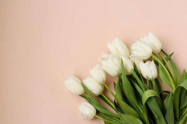 Boeket van verse lente witte tulpen ligt op een lichte pastel achtergrond, bovenaanzicht, kopie ruimte