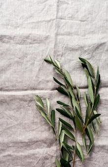 Boeket van verse olijfboomtakken op een oude vintage grijze servet tafelkleed tafel achtergrond. natuurlijk productconcept. bovenaanzicht