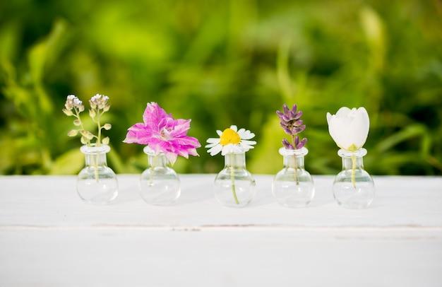 Boeket van wilde bloemen op houten. zomerbloemen, batanica op een witte achtergrond. viooltjes en kamille, jasmijn, lavendel en helichrysium in glazen kolven.