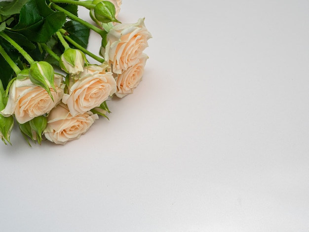 Boeket van witte rozen kopiëren ruimte