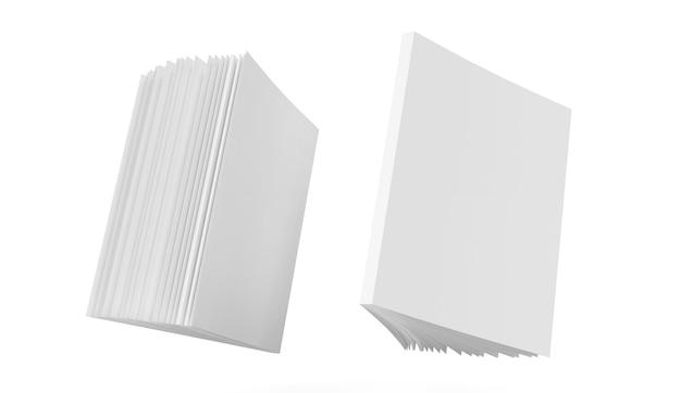Boekmodel blanco omslag notitieblok gezicht en achterkant schetsblok leeg sjabloon duidelijk tijdschriftmodel