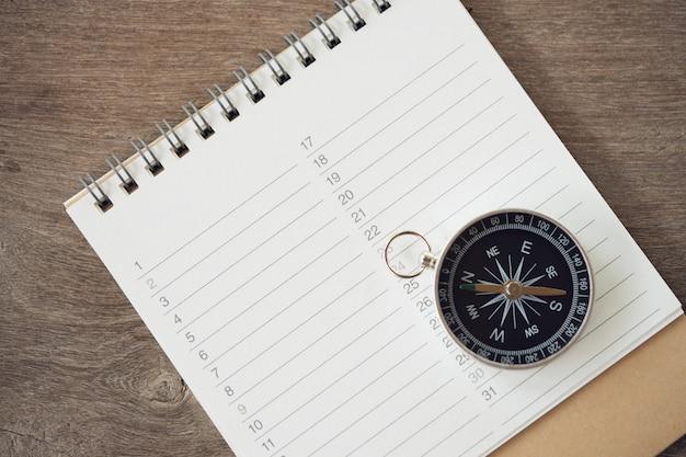 Boekranglijsten (lijst) en kompas om verschillende items te registreren voordat u op reis gaat,