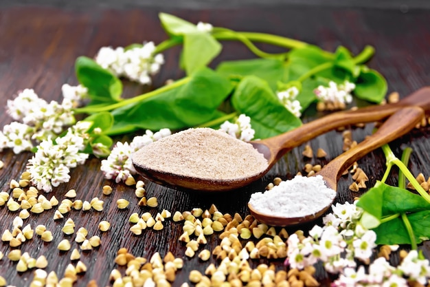 Boekweitmeel van bruine en groene granen in twee lepels, bloemen en bladeren op de achtergrond van een donkere houten plank