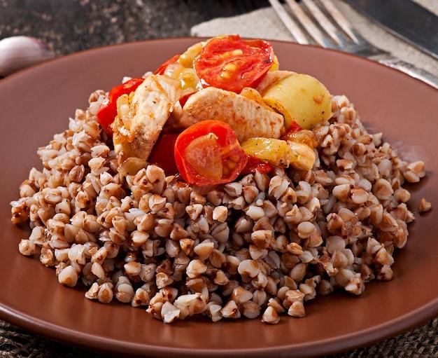 Boekweitpap met kip en groenten