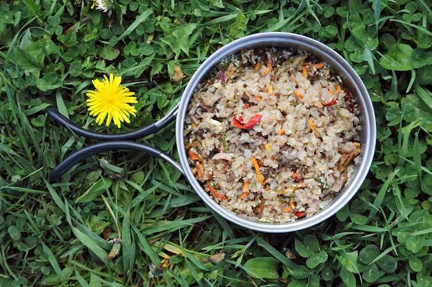 Boekweitpap met vlees en groenten op het gras
