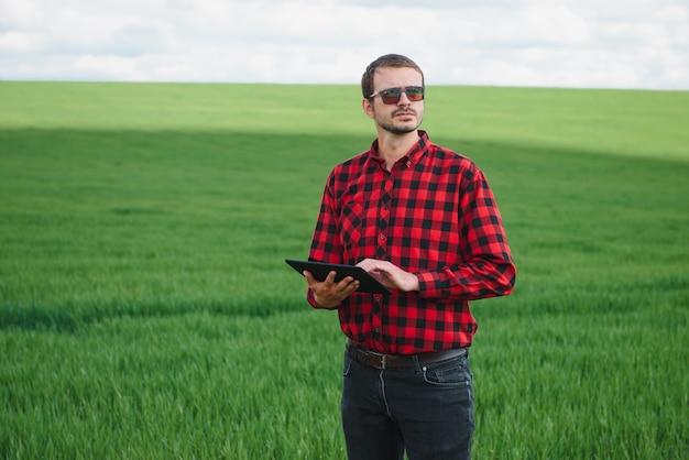 Boer in rood geruit overhemd met behulp van tablet op tarweveld. moderne technologie en toepassingen toepassen in de landbouw. concept van slimme landbouw en agribusiness