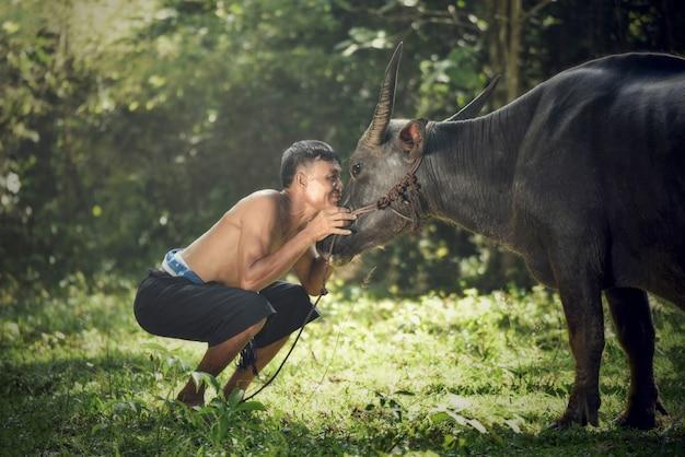 Boer met buffalo kijkt naar de ogen