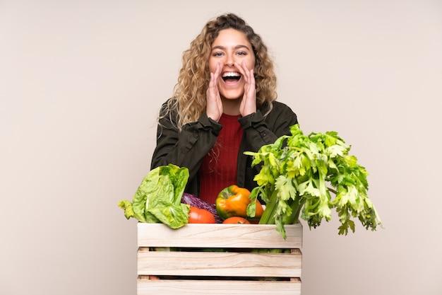 Boer met vers geplukte groenten in een doos geïsoleerd op beige muur schreeuwen met wijd open mond