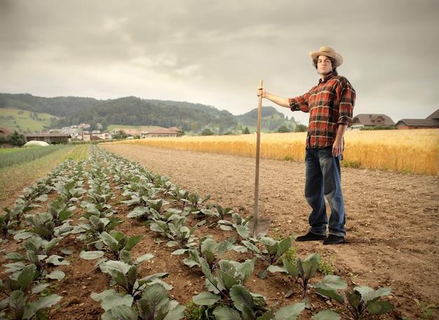 Boer op een veld
