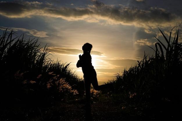 Boer vrouw silhouet staande in de suikerrietplantage in zonsondergang avond