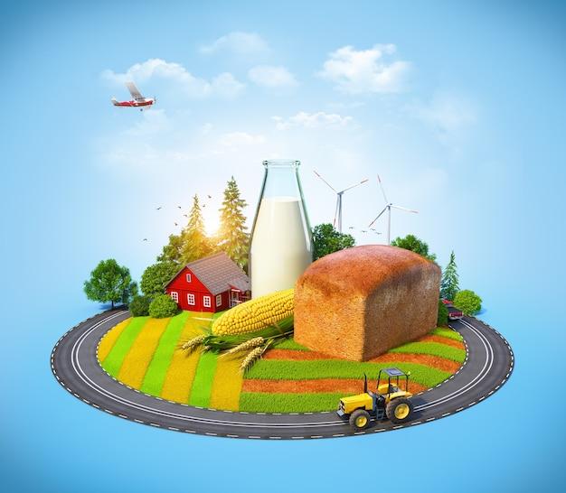 Boerderij met brood, melk, maïs en huis op een veld