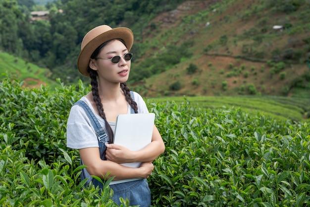Boeren die tabletten houden, thee controleren, moderne concepten.