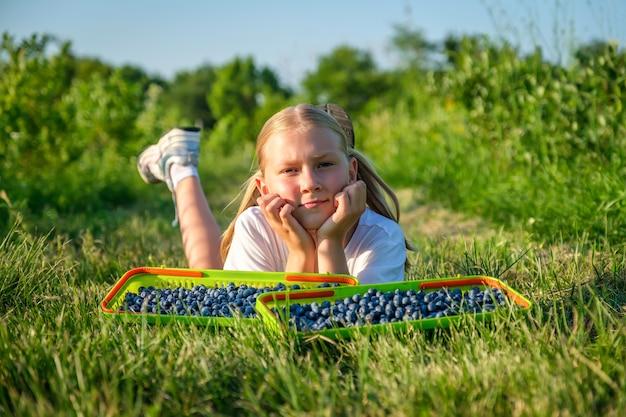 Boeren dochtertje plukt bosbessen in een mand en rust op het gras