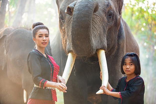 Boeren en olifanten aziatische cultuur