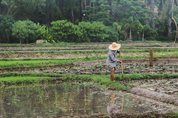 Boeren graven de grond als voorbereiding op het planten.
