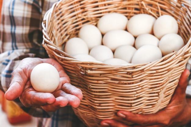Boeren houden veel eendeieren in een mand om als voedsel te eten.