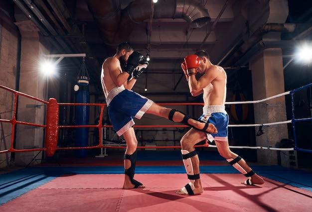 Boksers die kickboksen trainen