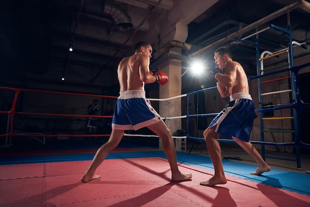 Boksers trainen kickboksen in de ring bij de gezondheidsclub