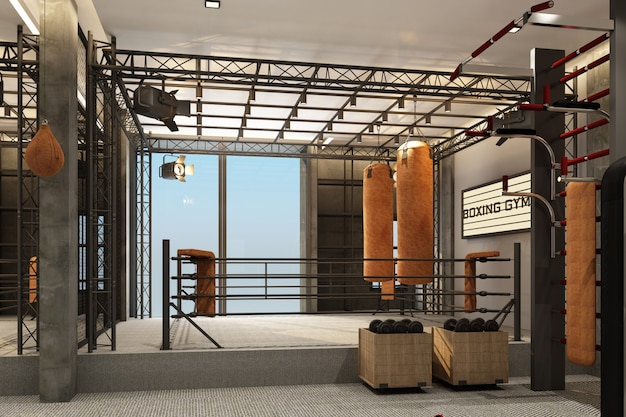Boksring boksgymnastiek met materiaal opleiding in zolderstijl en tapijtvloer het 3d teruggeven