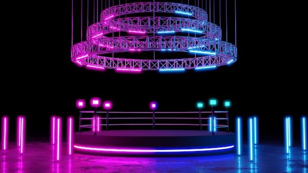 Boksring met neonverlichtingsachtergrond met leeg platform voor concert of productplaatsing. 3d-weergave.