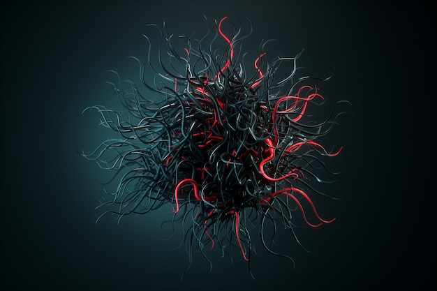 Bol met chaotische structuur, abstract molecuul, virus, bacterie, covid-19. futuristische vorm met tentakels. 3d render, 3d illustratie.