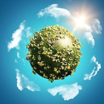 Bol van boterbloemen en madeliefjes op blauwe hemel met cirkelende wolken